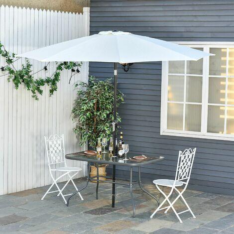 Mesa de jardín exterior rectangular de metal con orificio para sombrilla gris carbón