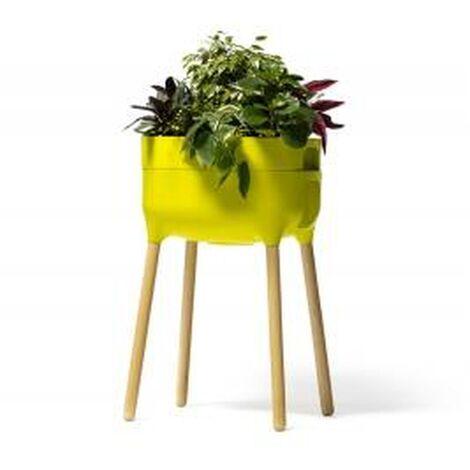 Jardinera elevada Urbalive con Autoriego y patas de madera. Verde Claro. 50,5x38x47,5 cm - Verde