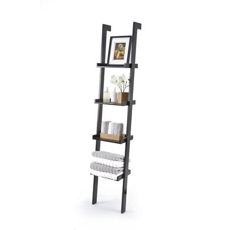 Sennen Ladder Shelf // Black Leaning Bookshelf with 4 Tiers