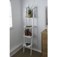 Sennen Ladder Shelf // White Leaning Bookshelf with 4 Tiers