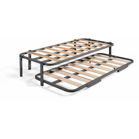 Cama Nido con 2 somieres estructura reforzada doble barra superior + 6 patas. Varias medidas 90X190