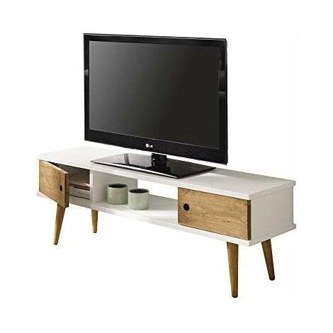 Mesa television diseno vintage, 2 puertas y estante, color blanco combinado con madera natural. Medidas 110 cm x 40 cm x 30 cm