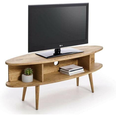 Mueble tv diseno vintage ovalado con estantes, acabado madera natural encerado