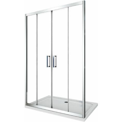 Cabine de douche de 6 millimètres pour installation en niche avec quatre portes et overture centrale H.190 – 138-143