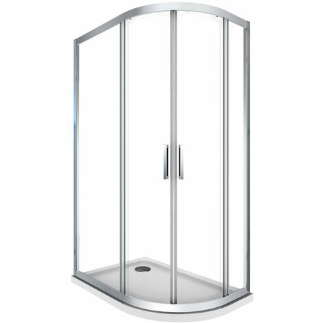 Cabine de douche de 6 millimètres anguler semi-circulaire avec profil chromé et réversible, gauche compris de receveur douche H.190 -  80 x 120