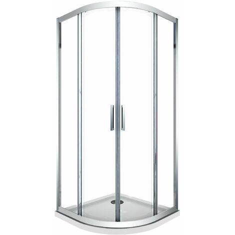 Cabine de douche de 6 millimètres anguler semi-circulaire avec profil chromé et réversible H.190 - 80 x 80