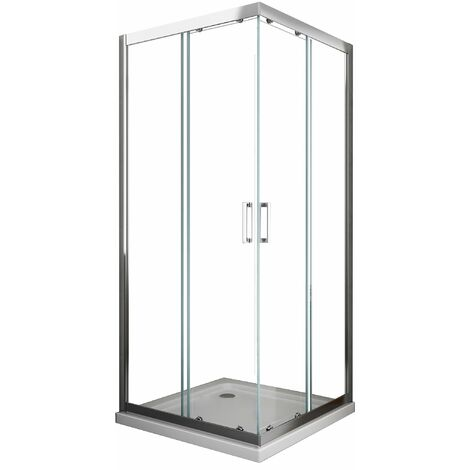 cabine de douche de 6 millimètres anguler carrè avec profil chromé et réversible H.190 - 70 x 70