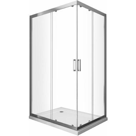 cabine de douche de 6 millimètres anguler rectangulaire avec profil chromé et réversible H.190 - 70 x 75