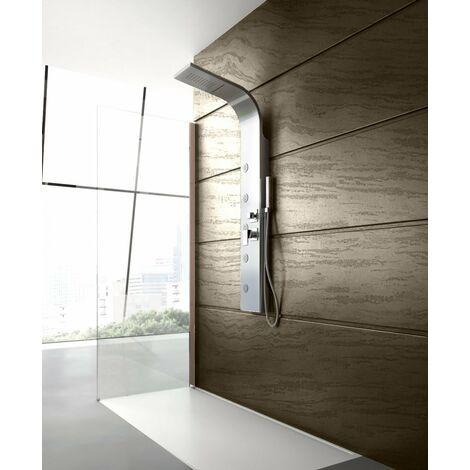 Colonne de douche hydromassage avec quatre fonctions en acier brossé