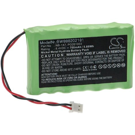 vhbw Battery Replacement for Acutrac NB-1X7, PO201003 for Measuring Devices (700mAh, 8.4V, NiMH)