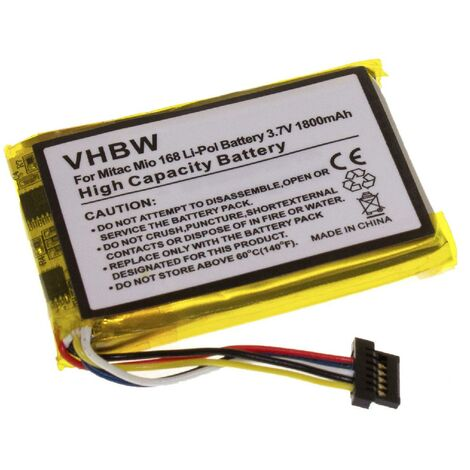 vhbw Battery compatible with Mitac Mio 168, 169, 168 Plus, 168C, 168RS Mobile Phone Smartphone (1800mAh, 3.7V, Li-Polymer)