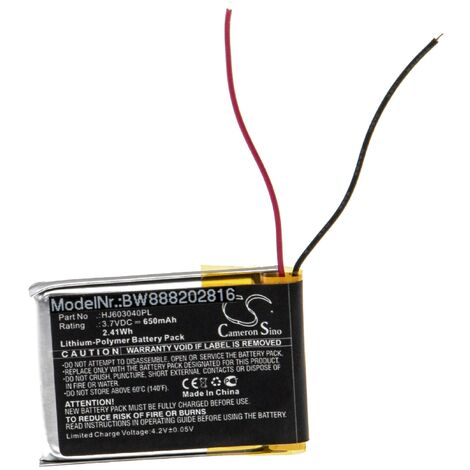 vhbw Battery Replacement for Fluke HJ603040PL for Measuring Devices (650mAh, 3.7V, Li-Polymer)