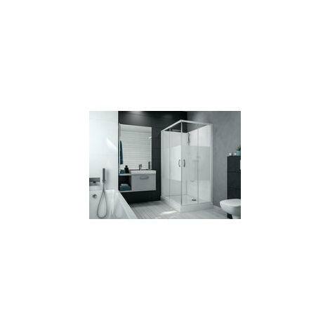 Cabine de douche IZI BOX 2 rectangulaire 100 x 80 cm en angle portes coulissantes en verre transparent, LEDA , Ref. L11IZBC1080