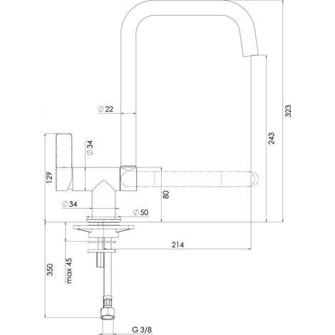 Mitigeur evier ALTERNA DESIGN bec pivotant et basculant, Ref.FL96114/1CRC1165