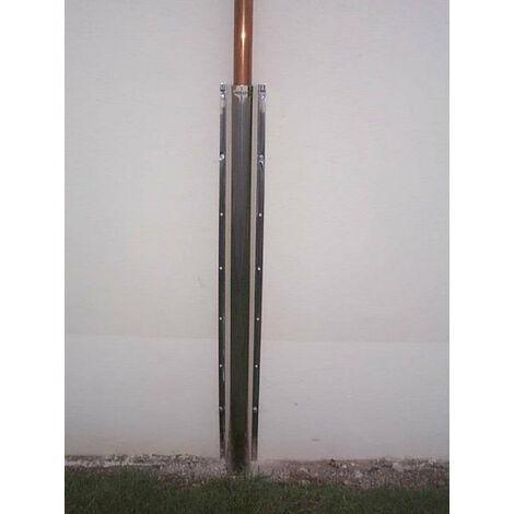 Goulotte inox de protection pour tube gaz larg 70mm long 1m pour tube 36mm maxi, TEN, Ref 999070