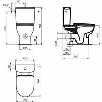 Pack WC OKYRIS sortie horizontale sans bride avec abattant universel blanc, PORCHER, Ref. P099901