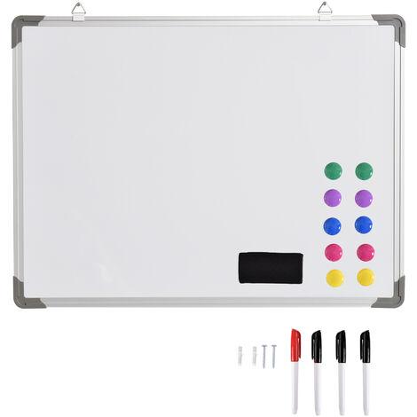 HOMCOM Pizarra Magnetica Blanca de 60 x 45cm con 10 Imanes + 1 Borrador + 4 Rotuladores - Blanco