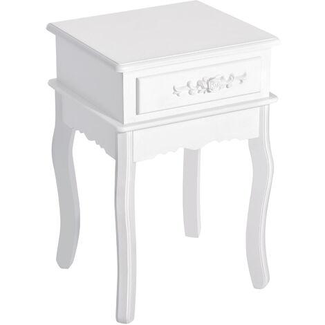 HOMCOM Mesita de Noche Mesa de Entrada Recibidor con 1 Cajón Color Blanco 40x35x60cm - Blanco
