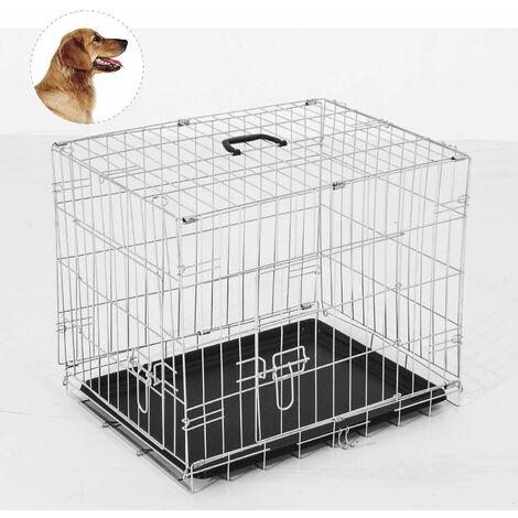 PawHut Transportin de Perros con 2 Puertas Asa Reja de Alambre Acero 122x77x82 cm Plateado - Plateado