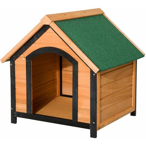 PawHut Caseta de Madera para Perro de Interior y Exterior Casa Impermeable 72x76x76cm - Madera Natural