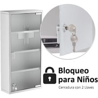 HOMCOM Armario Botiquin 4 Niveles Armarios Botiquines Primeros Auxilios con Cerradura - Plateado
