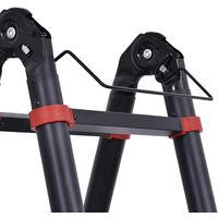 HOMCOM Escalera Aluminio Plegable Retráctil 2 Formas de Uso 12 Escalones Carga 150 kg - Negro