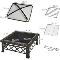 Outsunny Brasero Exterior Cuadrada Multifuncional 76x76x47 cm Calefacción Barbacoa Negro - Negro