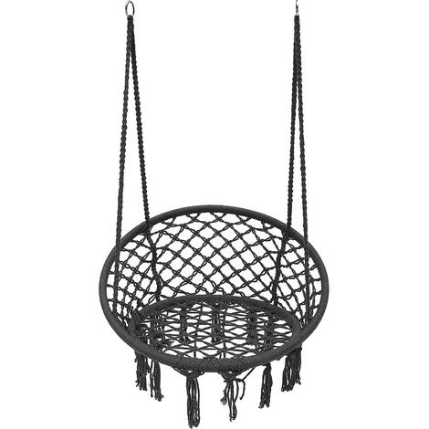 Chaise Hamac Suspendue En Coton Luxe Cushion Outdoor Camping Gris Sasicare - Gris