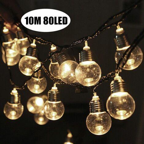 10M 80 LED ampoule solaire guirlande lumineuse à énergie solaire pour la fête de jardin extérieure intérieure de No?l de mariage No?l