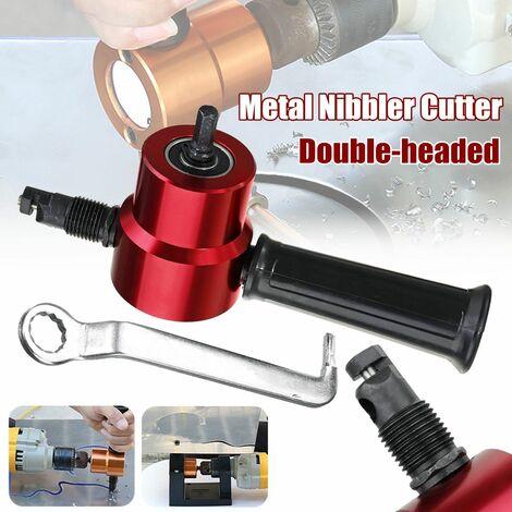 Double tête Feuille Metal T?le Grignoteuse Grignoteur Cutter Pour Perceuse électrique