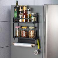 étagère latérale stockage d'épices support de magnétique support meuble de cuisine polyvalent (2 niveaux)