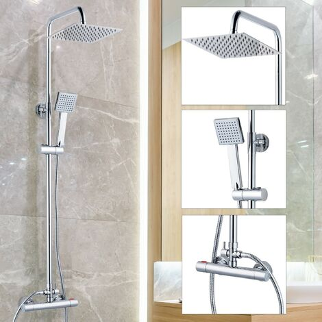 Square Thermostatic Mixer Shower Set - Dual Control Twin Head Ultra Thin Chrome