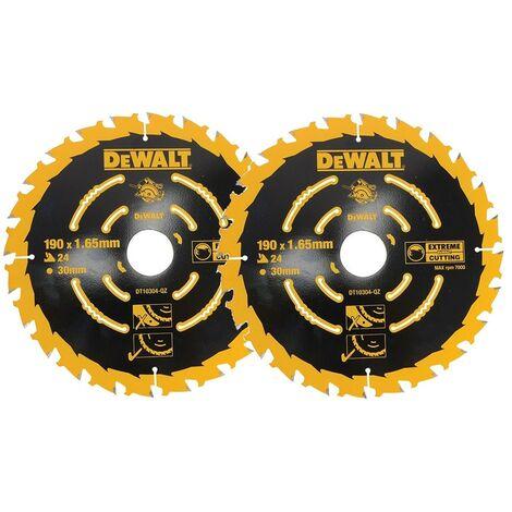 2 x Dewalt DT10304 Corded Circular Saw Blades 190 x 30mm x 24 Tooth Extreme