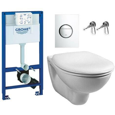 Grohe Rapid 1m Dual Flush Cistern Frame 38765 Nova Plate & Wal Hung Toilet Pan