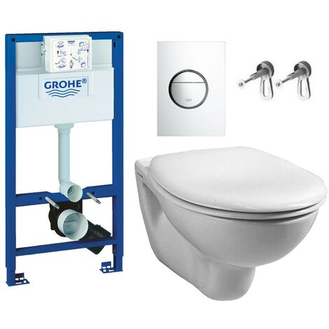 Grohe 38528 Rapid 1.13m Dual Flush Cistern Frame 38765 Nova Plate & Toilet Pan