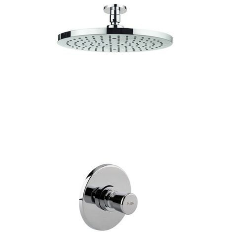 Timed Non Concussive Concealed Shower Self Closing + Round Fixed Ceiling Head