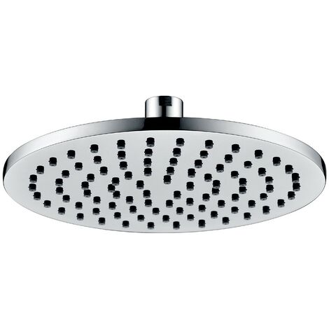 Round 200mm Fixed Shower Head Chrome Single Mode Rub Clean + Swivel Ball Joint