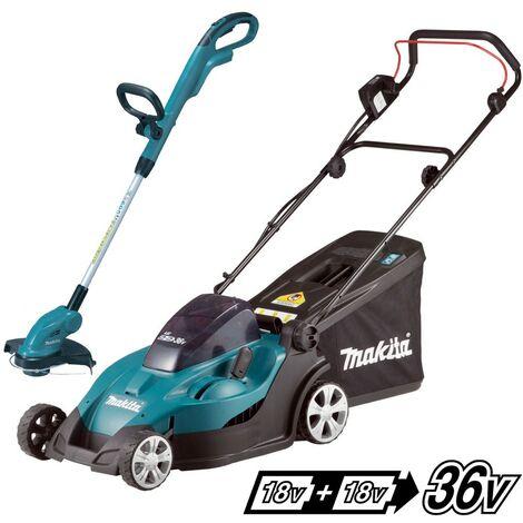 Makita DLM431Z Twin 18v / 36v LXT Cordless 43cm Lawn Mower + DUR181 Strimmer