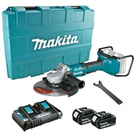 "Makita DGA900PT2 18v / 36v Cordless Brushless 230mm 9"" Angle Grinder - 2 X 5.0ah"