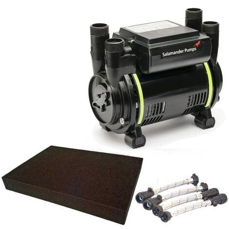Salamander CT80B 2.6 Bar Bathroom Twin Impeller Shower Pump CT80 B Hoses & Mat