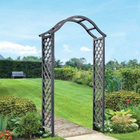 Smart Garden Elegant Woodland Wooden Garden Arch Pergola Grey Plant Support