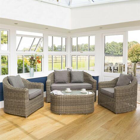 Rowlinson Bunbury Rattan Sofa Chair Table 4 Piece Set Patio Garden Furniture