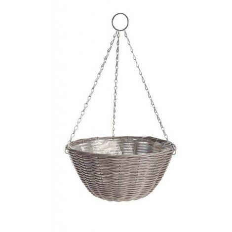 Gardman 35cm 14 Inch Rattan Effect Hanging Basket Light Grey Planter 02890