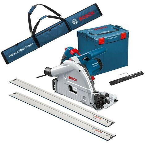 Bosch GKT55GCE 110v 165mm Plunge Saw + LBOXX Case + 2 x 1.6m Guide Rail + Bag +