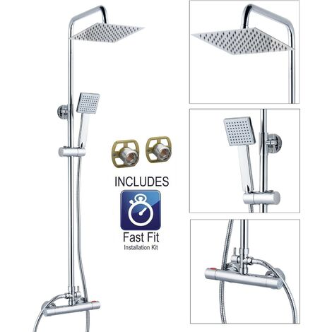 Ultra Thin Square Thermostatic Mixer Shower Dual Control Twin Head +Fast Fit Kit