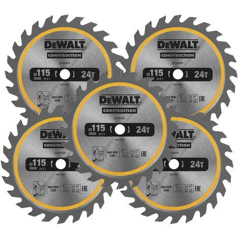 Dewalt DT20420 Circular Saw Blade 115 x 9.5mm x 24 Tooth TCT Fits DCS571 X 5