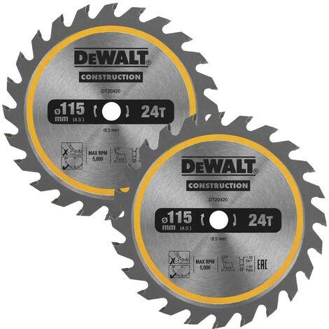 Dewalt DT20420 Circular Saw Blade 115 x 9.5mm x 24 Tooth TCT Fits DCS571 X 2