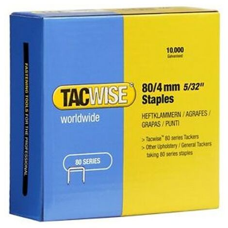 Tacwise 0380 Type 80 Box of 10,000 Staples 4mm for A8016V A8016LN