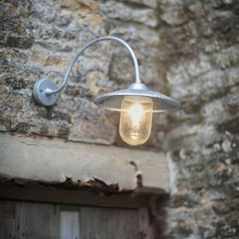 Garden Trading St Ives Arched Swan Neck Nautical Mains Garden Wall Light Cage