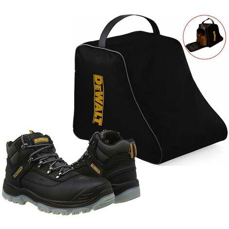 DeWalt Laser Black Safety Work Boots Steel Toecap UK Size 8 + DeWALT Boot Bag